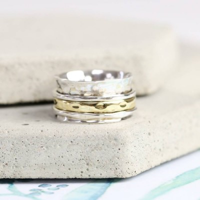 Sterling Silver And Gold Hammered Effect Spinning Personalised Ring - AMAZINGNECKLACE.COM