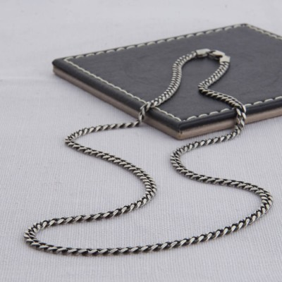 Sterling Silver Mens Curb Chain Personalised Necklace - AMAZINGNECKLACE.COM