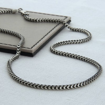 Sterling Silver Mens Snake Chain Personalised Necklace - AMAZINGNECKLACE.COM