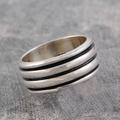 Mens Sterling Silver Spinning Personalised Ring - AMAZINGNECKLACE.COM