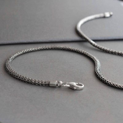 Sterling Silver Oval Snake Personalised Necklace - AMAZINGNECKLACE.COM