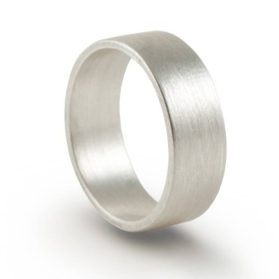 Sterling Silver Oxidized Flat Wedding Band Personalised Ring - AMAZINGNECKLACE.COM
