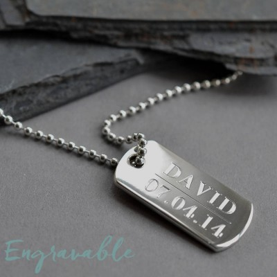 Sterling Silver Solid Dog Tag Personalised Necklace - AMAZINGNECKLACE.COM