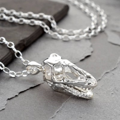 Sterling Silver T Rex Skull Personalised Necklace - AMAZINGNECKLACE.COM