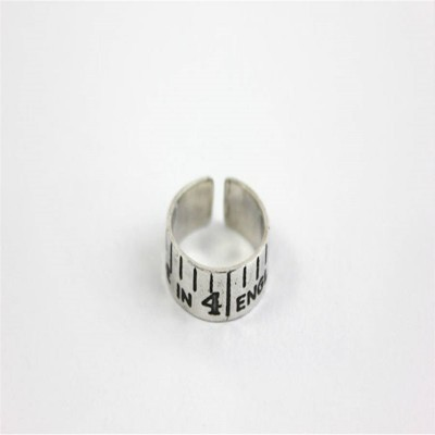 Etched Silver Vintage Style Tape Measure Personalised Ring - AMAZINGNECKLACE.COM