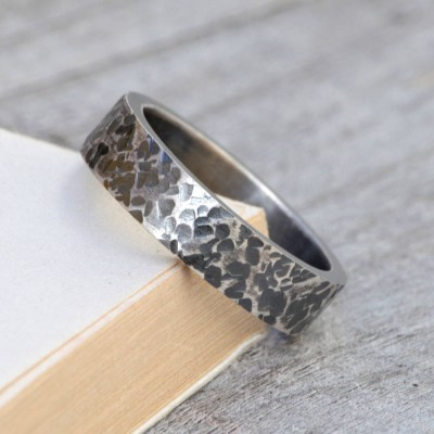 Personalised Textured Wedding Band In Oxidised Silver - AMAZINGNECKLACE.COM