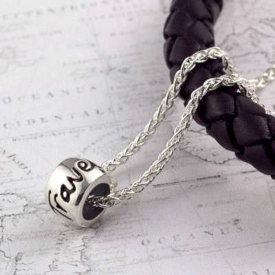 'Travel Safe' Solid Silver Mojo Charm Personalised Necklace - AMAZINGNECKLACE.COM