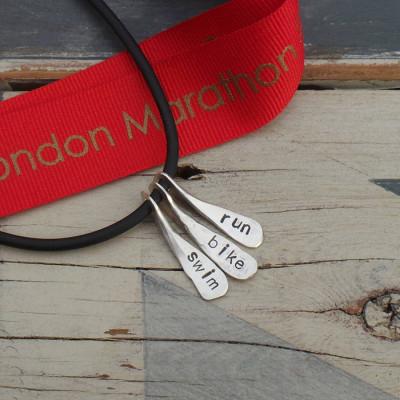 Triathlon Swim Bike Run Personalised Necklace - AMAZINGNECKLACE.COM