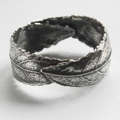 Handmade Woodland Unisex Silver Leaf Personalised Ring - AMAZINGNECKLACE.COM