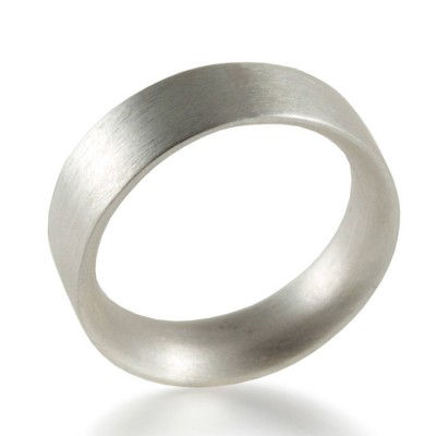 Mens Sterling Silver Wedding Personalised Ring Comfort Fit Matt - AMAZINGNECKLACE.COM