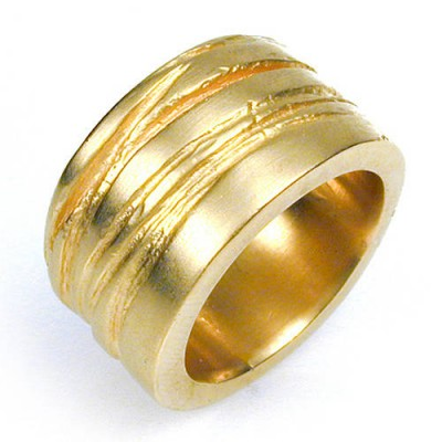Wide Silver Texture Bound Personalised Ring In 18ct Gold Plated - AMAZINGNECKLACE.COM